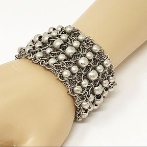 Silver Tone Ball Bead Chain Mail Wide Bracelet